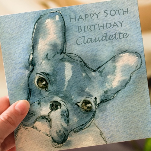Personalised French Bulldog Greeting Card