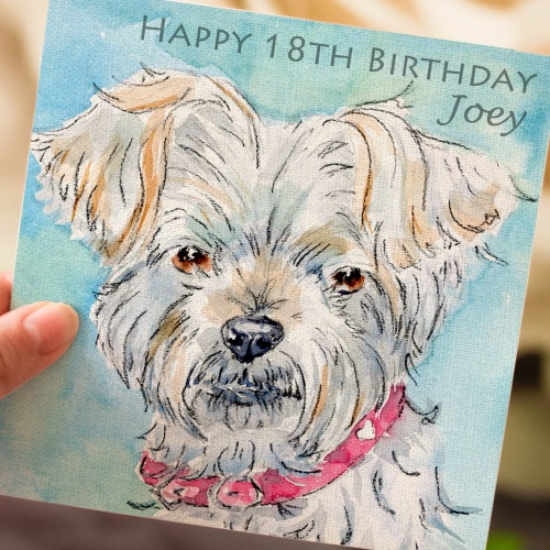Personalised Morkie Dog Greeting Card