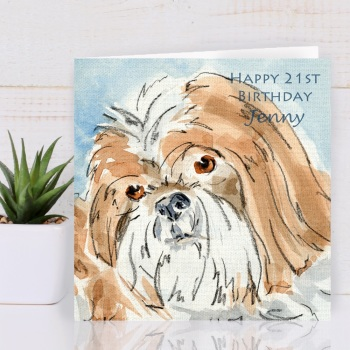 Personalised Shih Tzu Dog Greeting Card
