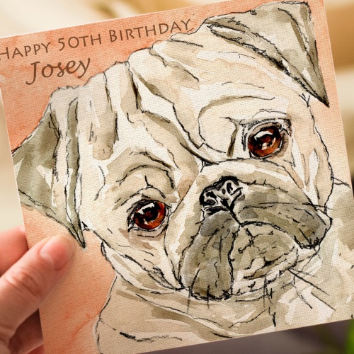 Pug Personalised Greeting Card