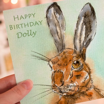 Personalised Hare Greeting card