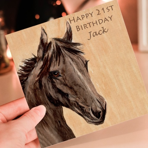 Personalised Brown Horse Greeting card
