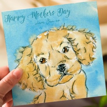 Personalised Puppy Cocker Spaniel Mothers Day Card