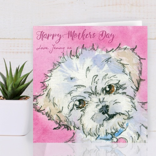 Personalised Maltipoo Mothers day Card