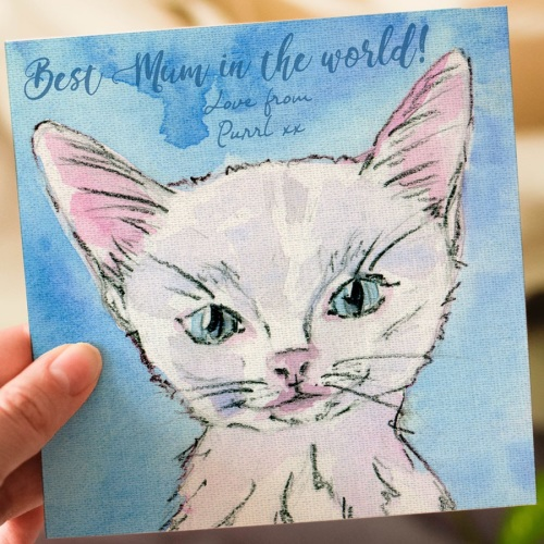 Personalised Mothers Day Card, White Kitten
