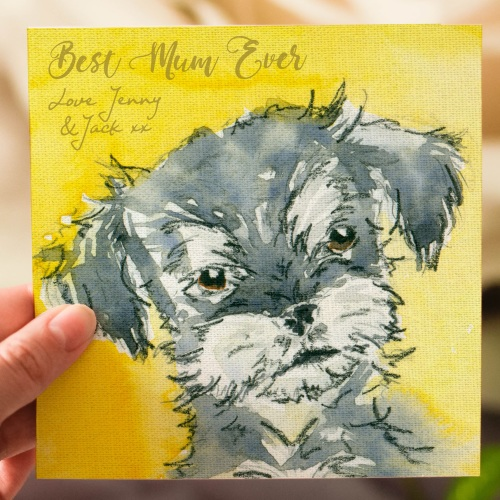 Personalised Mothers Day Card Schnauzer Puppy