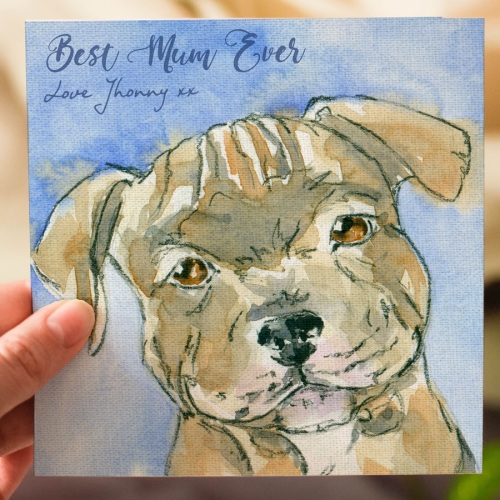 Mothers Day Personalised Card, Staffordshire Bull Terrier Puppy