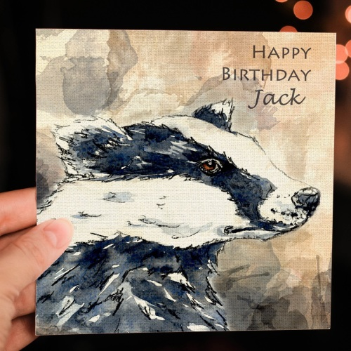 Personalised Badger Greeting card