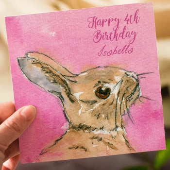 Personalised Kids Bunny Birthday Card