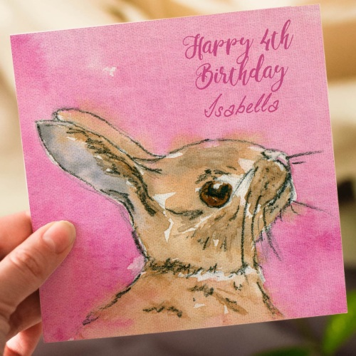 Childrens Personalised Bunny Birthday Card