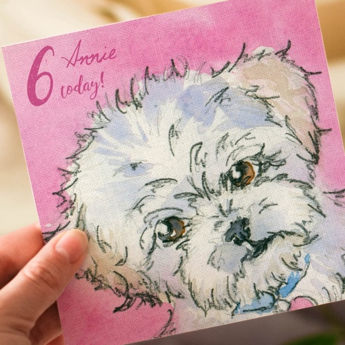 Personalised Kids Poodle Birthday Card