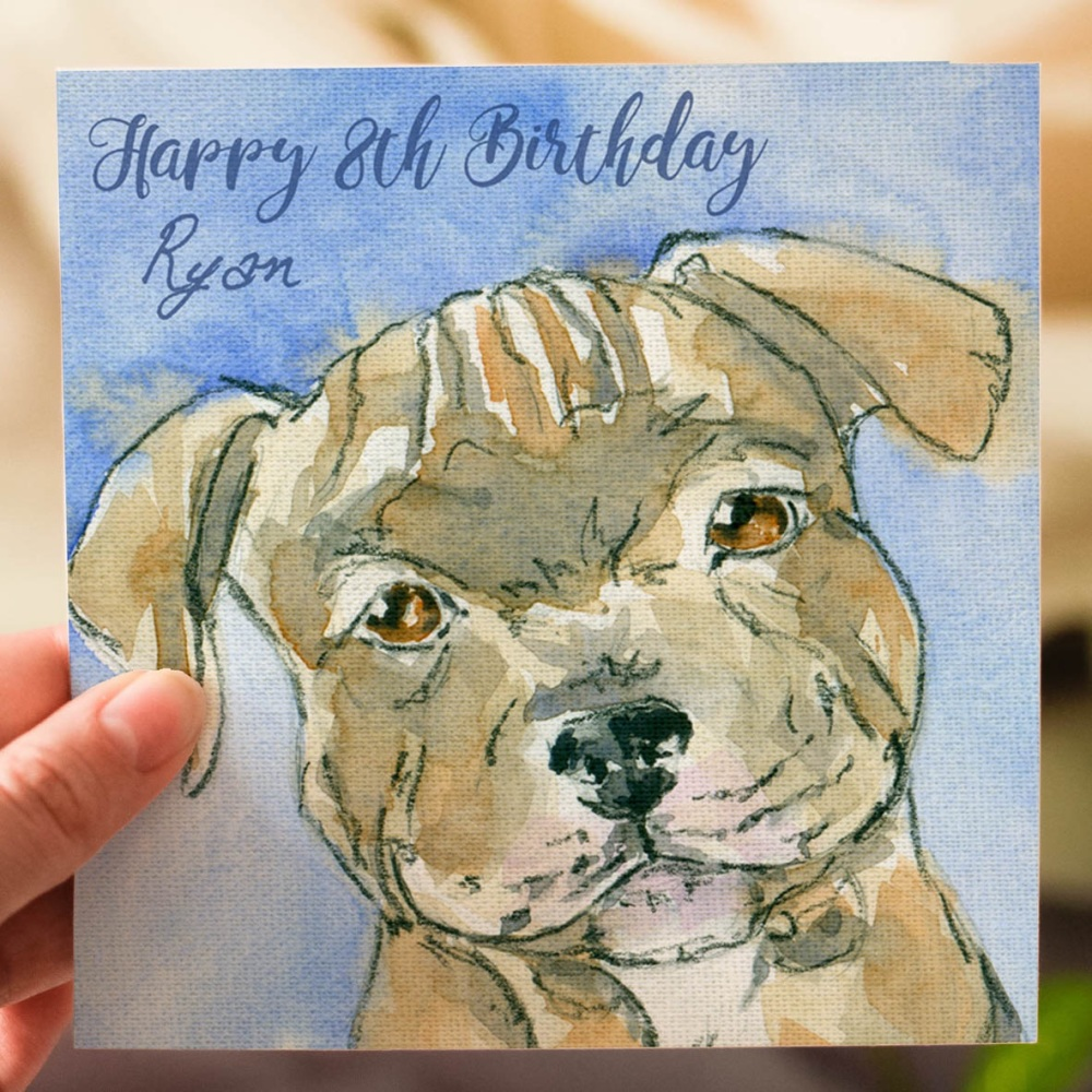 Personalised Puppy Birthday Card for Kids