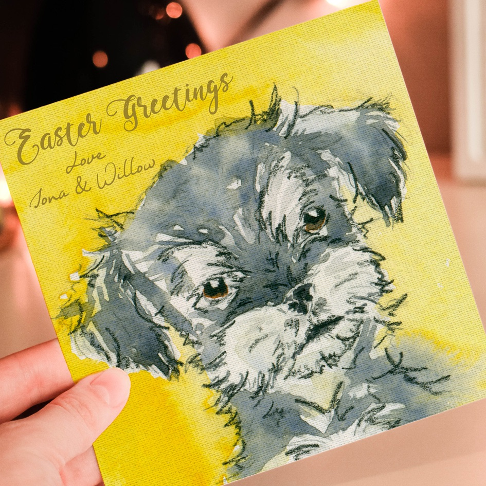 Personalised Easter Puppy Greeting Card