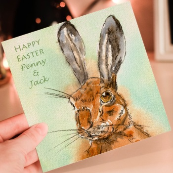 Personalised Easter Hare Greeting Card