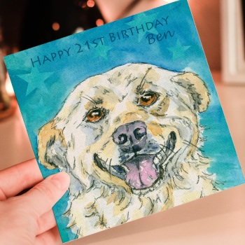 "Personalised Birthday Card ""Noodles"" Golden Labrador"