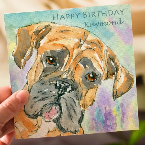 Personalised Boxer Dog Greeting Card