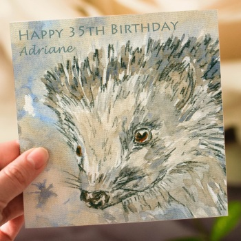 Personalised Hedgehog Greeting Card