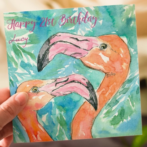 Personalised Flamingo Greeting Card