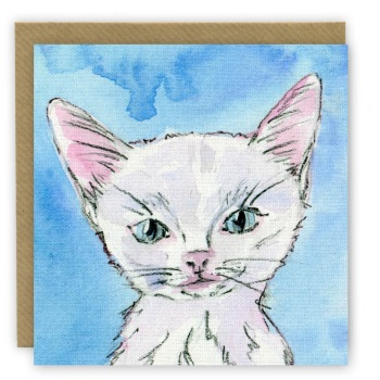 PP45a 'Purrl' White Kitten - Blue