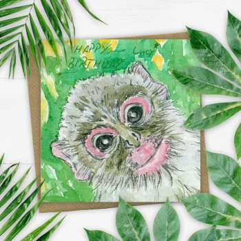 Personalised Monkey Greeting Card