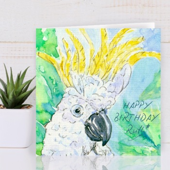 Cockatoo Personalised Greeting Card