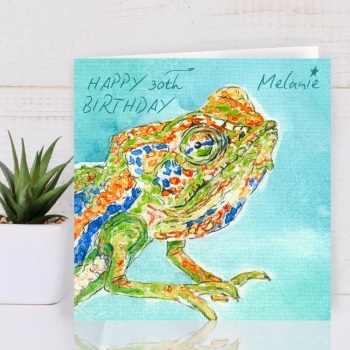 Chameleon Personalised Birthday Card