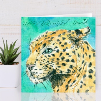 Leopard Personalised Birthday card