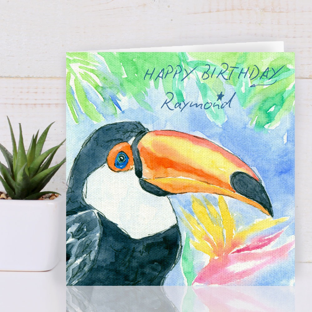 Personalise Toucan Birthday Card