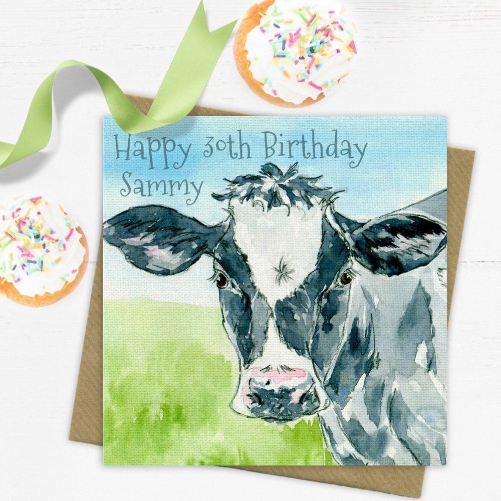 Cow Personalised Greeting Card