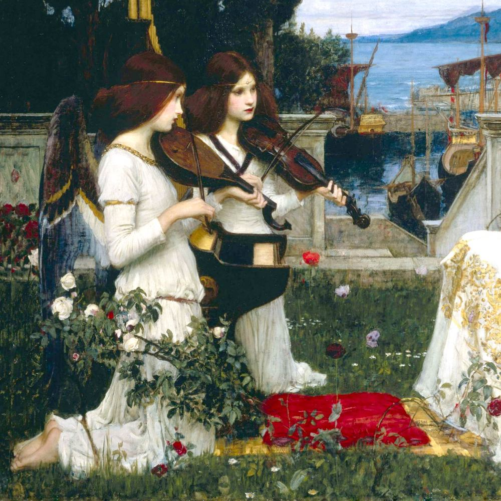 John William Waterhouse: Angelic Strings, detail from St Cecilia, 1895