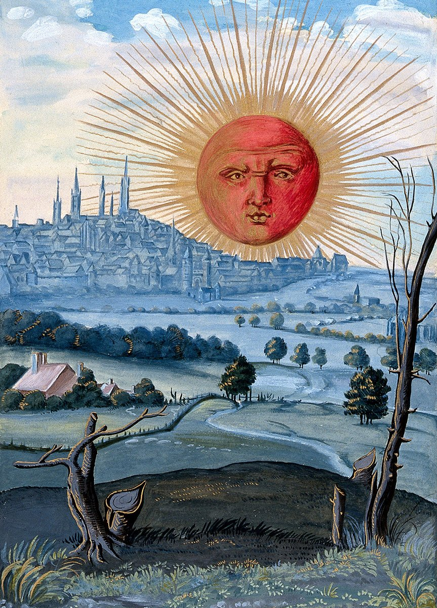 The Sun with human face Rising - from Splendor Solis by Salomon Trismosin,