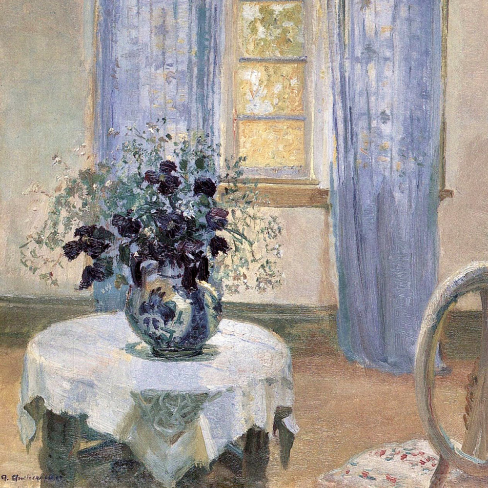 Blue Clematis in the Artist's Studio, 1913 (detail) - Anna Ancher