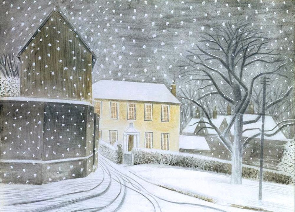 Eric Ravilious: Halstead Road in Snow, 1935