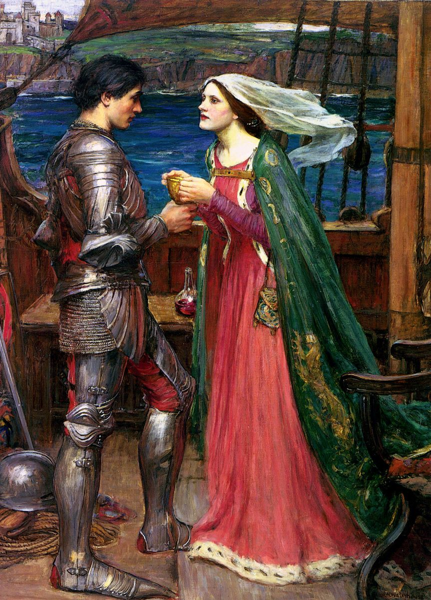 John William Waterhouse: Tristan and Isolde with the Potion, 1916