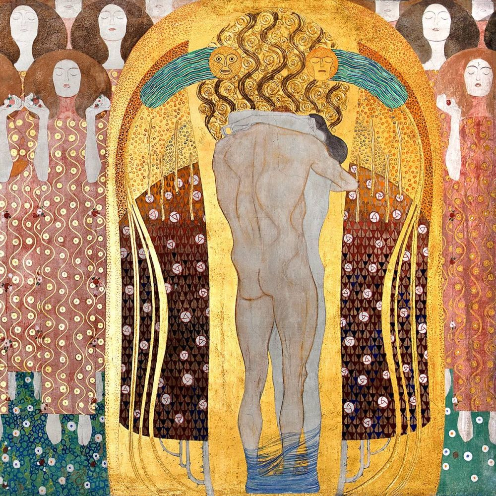 Gustav Klimt: Beethoven Frieze - Chorus of Paradise, Embrace