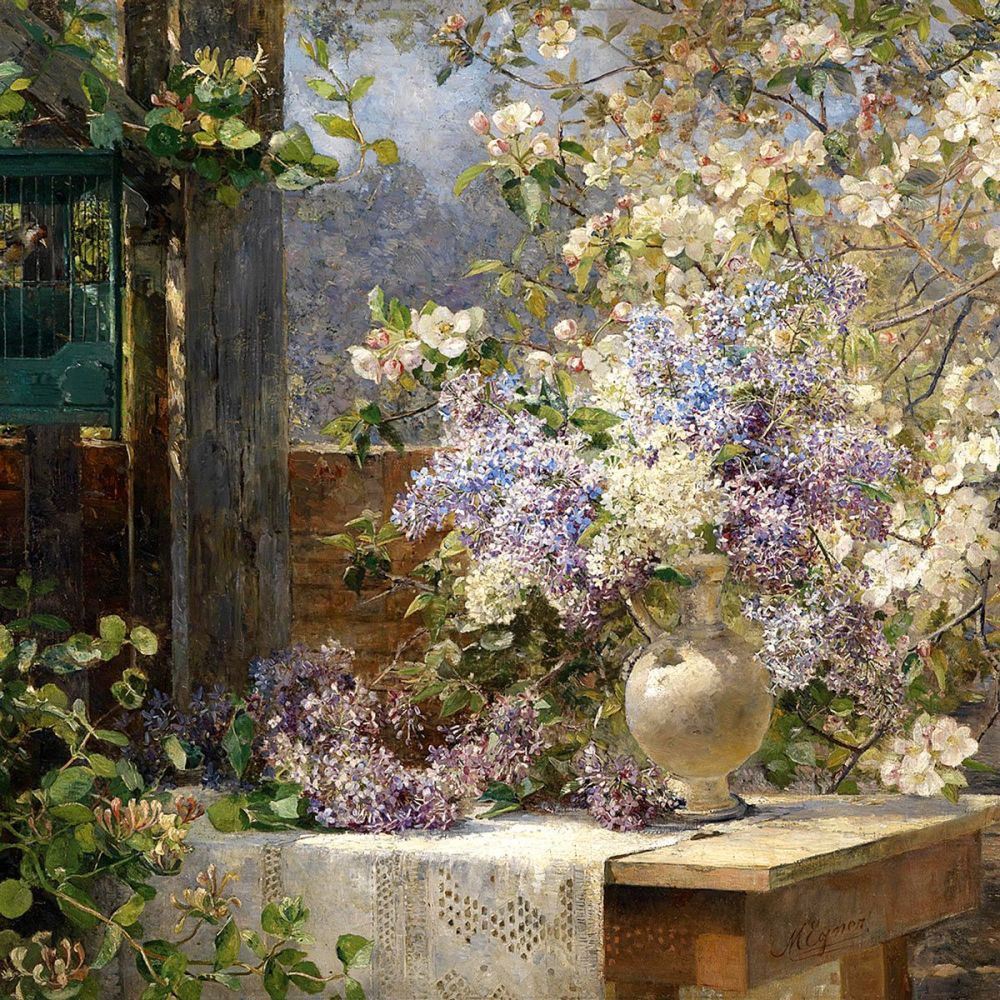 Marie Egner: In The Blossoming Bower, 1896 (detail)
