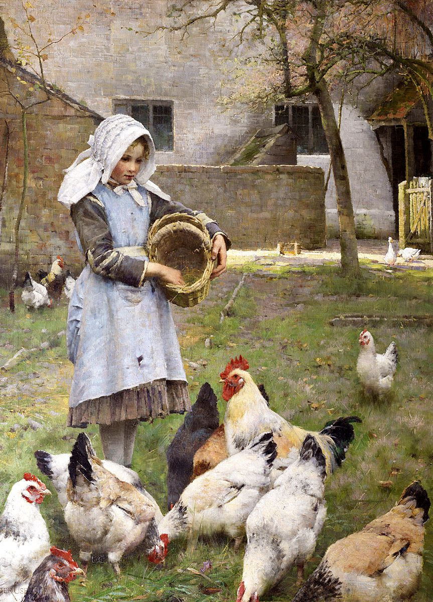 Walter Frederick Osborne: Feeding the Chickens, 1885