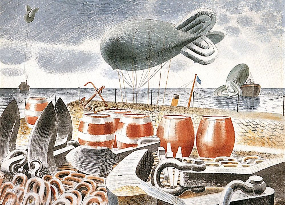 Eric Ravilious: Barrage Balloons at Sea, 1940