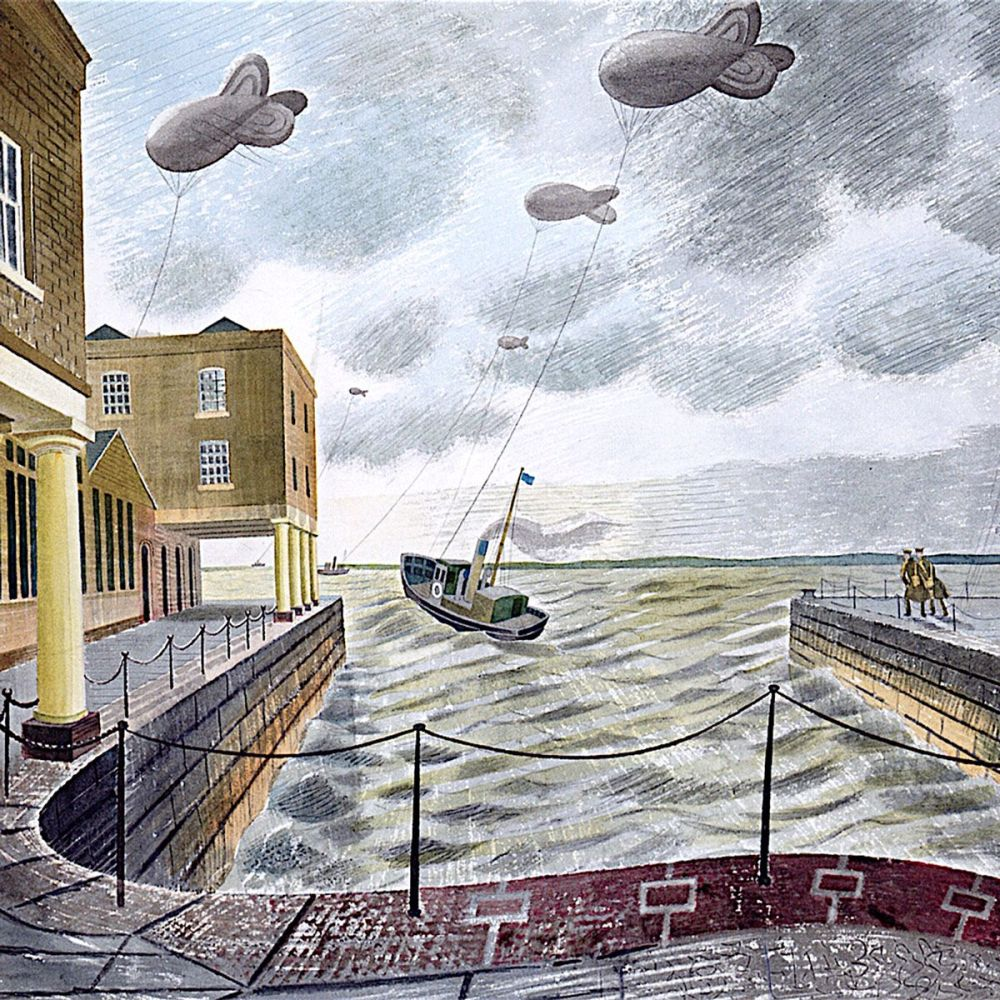 Eric Ravilious : Barrage Balloons outside a British Port, 1940 (detail)