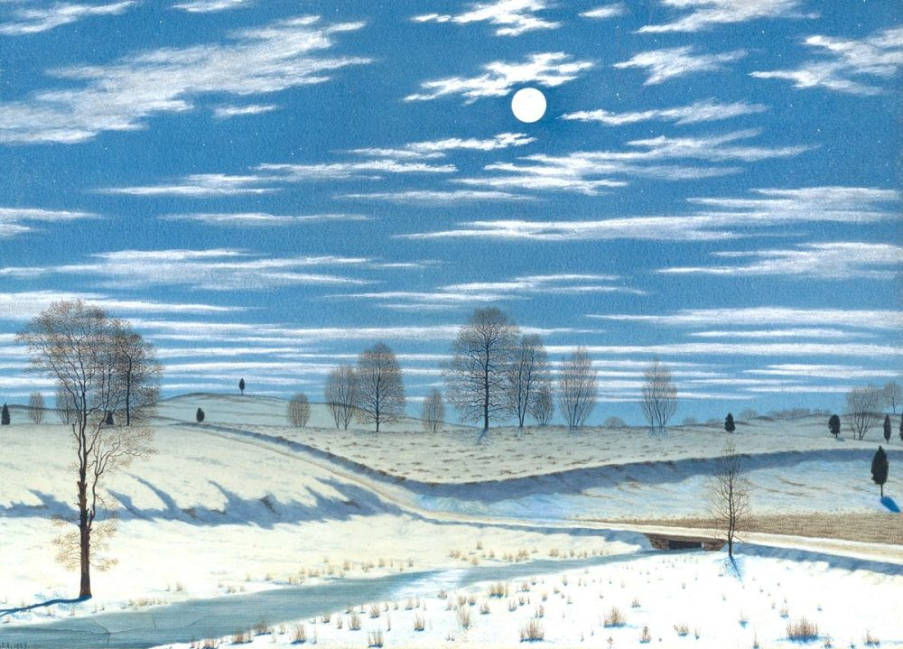 Henry Farrer: Winter Scene in Moonlight, 1869
