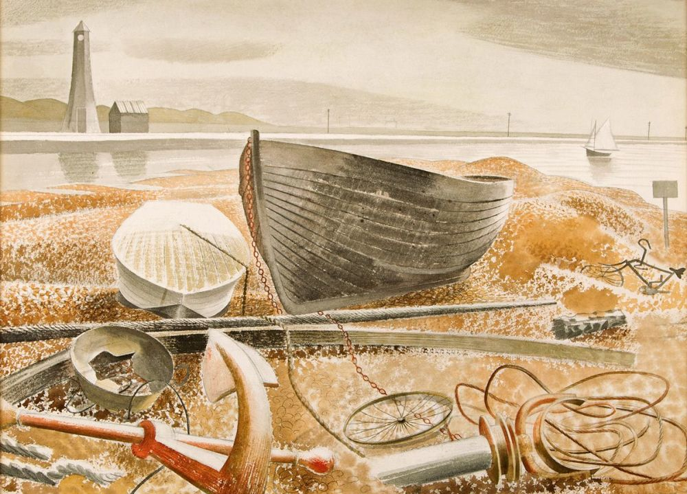 Eric Ravilious: Anchor and Boats, Rye, 1938