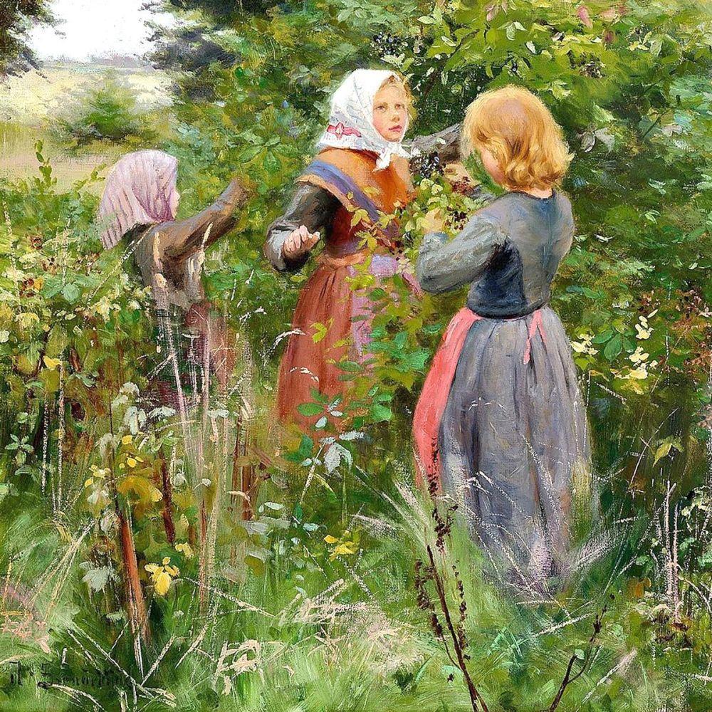 Hans Andersen Brendekilde: Girls Picking Blackberries, 1885
