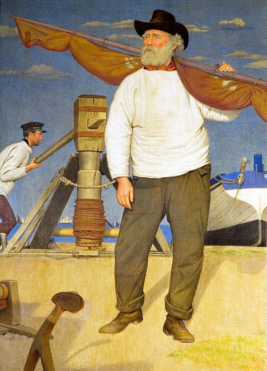 Joseph Edward Southall: Fisherman Carrying a Sail, 1907