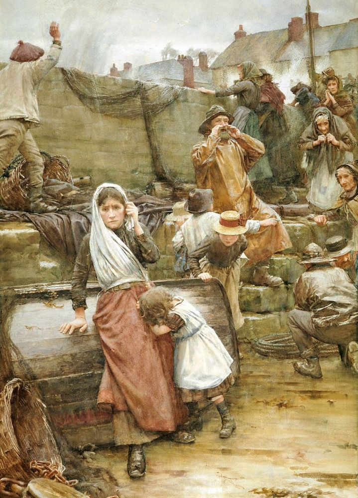Walter Langley: Disaster Scene in a Cornish Fishing Village, 1889