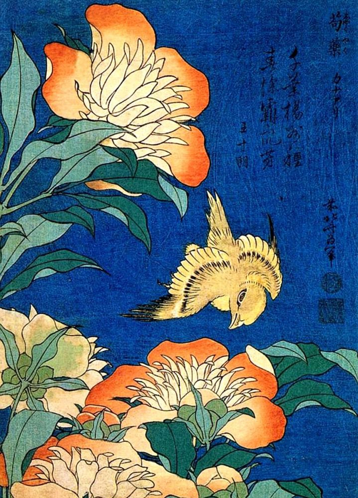 Katsushika Hokusai: Canary and Peony, 1834
