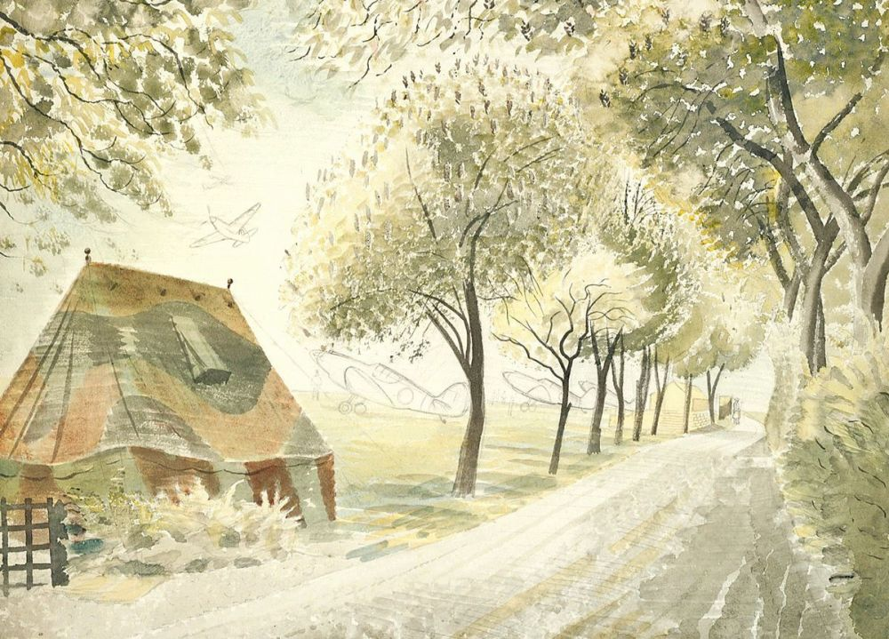 Eric Ravilious: Road by an Airfield, 1942