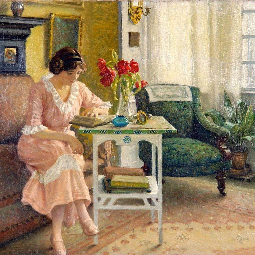 Paul Gustav Fischer: The Artist's Wife Reading, 1915