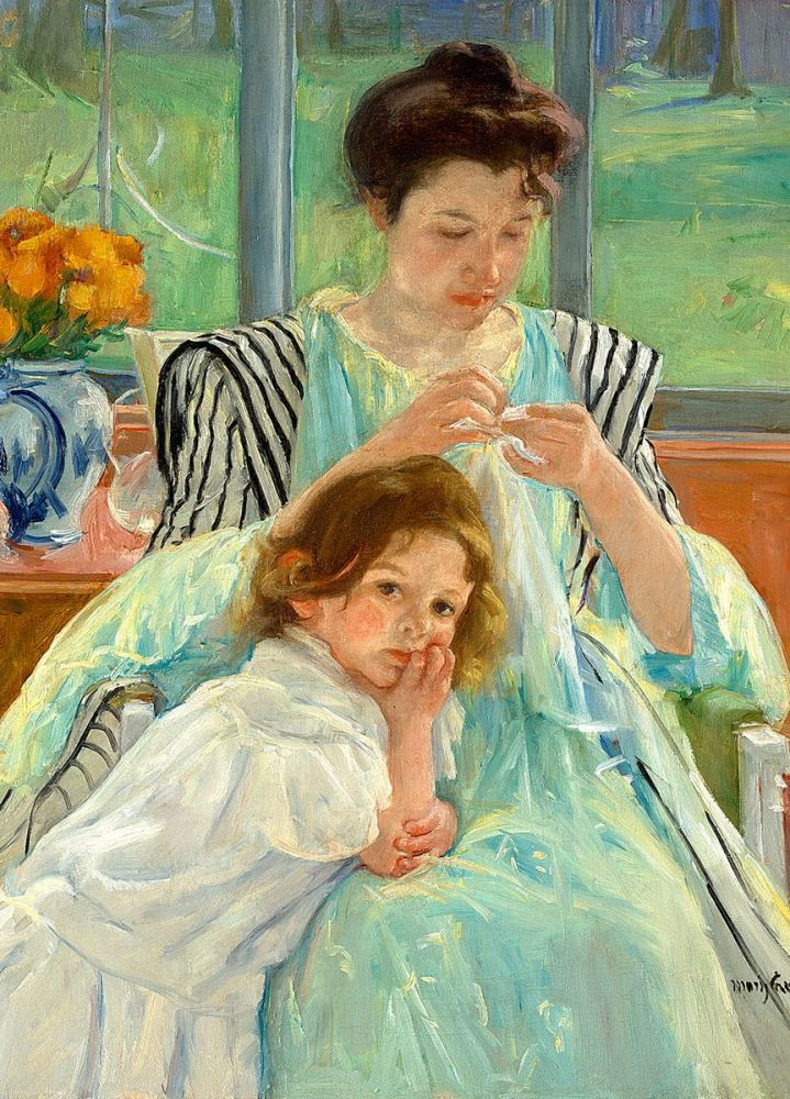 Mary Cassatt: Young Mother Sewing, 1900