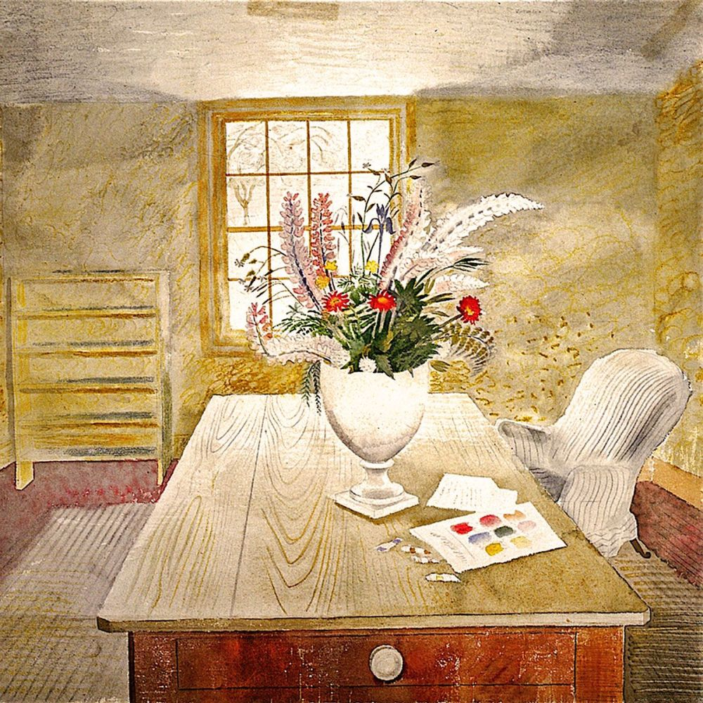 Eric Ravilious: Garden Flowers on a cottage table, 1941