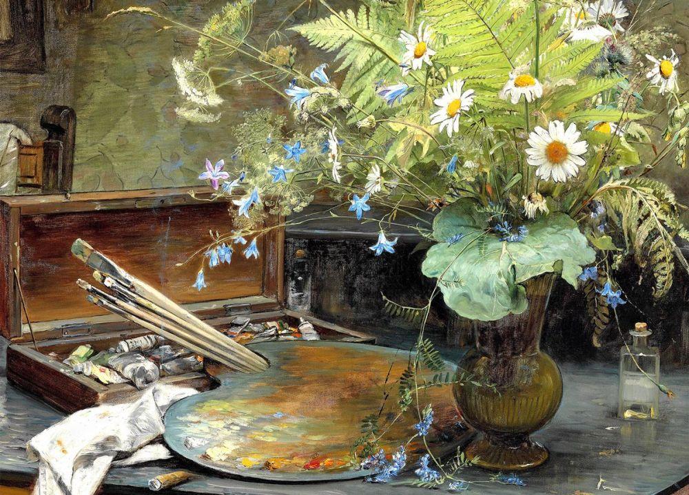 Bertha Wegmann: Interior with a bunch of wild flowers